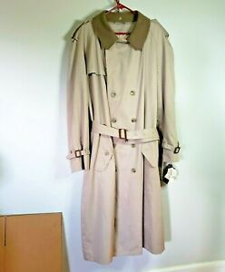 NWT Mens 46L Kellwood Executive Collection Twill Trenchcoat 46 Long Lined Tan