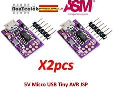 2pcs Tiny AVR ISP ATtiny44 ATTiny45 ATTiny85 USBTinyISP Programmer 5V Micro USB