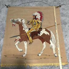 Vtg Native American 41 x 35 Lighted Wall Hanging Tapestry Mural w/ Wood Dowel