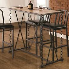 Coaster 100692 Rustic Chain Link Bar Table With Natural Brown Wood Top