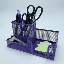 Purple Desk Organizer Mesh Metal Desktop Pen Holder Storage, US SELLER