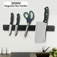 Black Wall Mount Magnetic Strip Knife Holder Utensil Kitchen Tool Storage Rack
