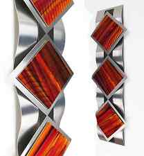 Modern Abstract Metal Wall Art Painting Sculpture Contemporary Home Decor Orange
