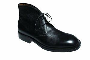 Silvano Lattanzi Black Leather Ankle Boots Shoes 10 (EU 9) Hand-made Italy