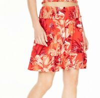 Guess Womens Rona Skirt Red Size Small S Tuscan Blooms Tiered Smocked $69 298