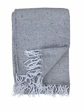 Premium Light Gray Solid Color Mexican Throw Blanket
