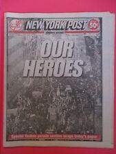 NEW YORK YANKEES WORLD SERIES PARADE NEW YORK POST FULL NEWSPAPER 10/30/1999