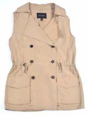 Banana Republic Womens Tan Brown Sleeveless Safari Long Vest Blazer SZ S/P