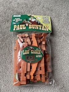 Paul Bunyan Classic Wood Log Building 50 Piece Set Made in USA Lincoln Logs New