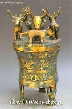"""13""""  Chinese Bronze Gild Deer Phoenix Beast Incense Burner Censer Incensory"""