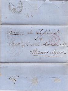 1854 RARE Liverpool Stampless Transatlantic Ship Letter Maiden Voyage La Planta