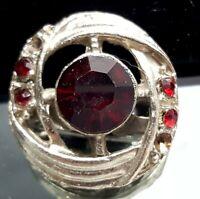 Vintage ruby glass brooch.