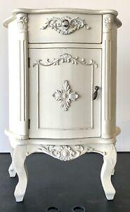Vintage Antique White Beige Wooden Medium Silver Knob Cabinet