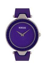 Versus By Versace 35118 Women's Steel Sertie Violet Leather Strap Watch