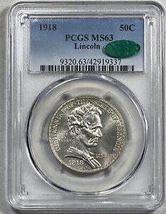 1918 Lincoln Illinois 50c Silver Commemorative Half Dollar PCGS MS 63 CAC!
