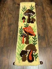 "New listing Retro Completed 70s Merry Mushroom Latch Hook Hanging Art Hook Rug 12.5"" x 47"""