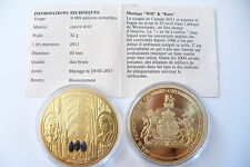 SUPERBE MÉDAILLE - KATE & WILLIAM -  MARIAGE ROYAL  2011  ! FDC (code 14/2/16)
