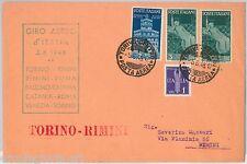 57121 - REPUBBLICA - STORIA POSTALE: GIRO AEREO D'ITALIA 1948 - TORINO  RIMINI