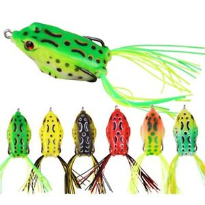 6pc 6g-12.5g Large Frog Topwater Soft Fishing Lures Bait Bass 3D Eyes Crankbaits
