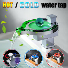 LED Light Modern Glass Bathroom Waterfall Faucet Hot/Cold Basin Mixer Tap