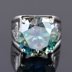 HUGE 14.55 Ct Blue Diamond Solitaire Men's Ring With Accents, Simply Gorgeous