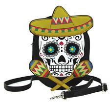 Sleepyville Critters Sugar Skull with Maracas Sombrero Crossbody Bag in Vinyl Ma