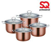 4pc Large Stockpot Set Induction Stainless Steel Deep Casserole Cooking Pot Pan