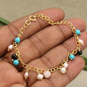 Turquoise Pearl Beads Gold Plated Handmade Bracelet 925 Sterling Silver Jewelry
