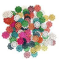 KE_ BL_ KF_ 100Pcs Wooden Chrysanthemum Buttons 4 Hole DIY Sewing Scrapbooking