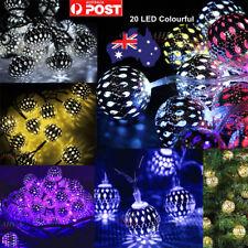 20LED Solar String Lights Moroccan Metal Ball Outdoor Xmas Fairy Lamp Home Decor