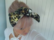 HEAD SCARF HAIR BAND LEOPARD PRINT BLACK GOLD ANIMAL PRINT BOW STRETCH SCARF