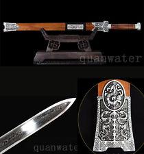 DAMASCUS FOLDED STEEL HANDMADE BLADE ALLOY SLIVER FITTINGS  CHINESE SWORD