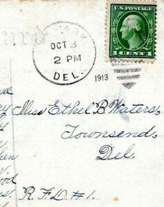 1913 NEWARK DELAWARE POSTMARK to Townsend Waters Fancy Cancel Postcard Cover HJ