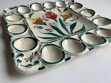 Square Hand Painted Floral Egg Plate Made In Italy Vintage Collectible Marked