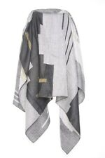 Architectural Design Abstract Cow Girl's Grey Khaki & Charcoal Warm Scarf (s47)