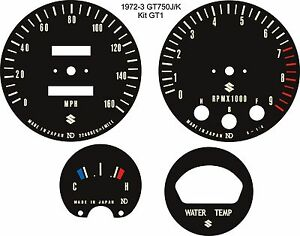 SUZUKI GT750 J/K/L/M/A/B TRIPLE SPEEDO REV COUNTER TACH CLOCK DIAL OVERLAYS