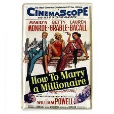HOW TO MARRY A MILLIONAIRE Marilyn Monroe Tin Metal Wall Bar Door Plaque Sign UK