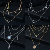 Women Bib Multi-layer Star Chain Choker Long Statement Pendant Jewelry Necklace