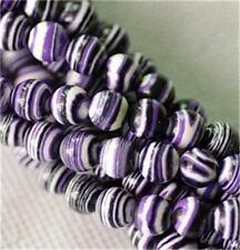 8mm purple Stripe Turkey Turquoise Gem Round Loose Bead 15''##QF378