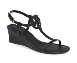NIB Tory Burch Miller T-Strap Leather Wedge Sandal Black US 8 8.5 9 AUTHENTIC