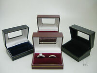 Bride & Groom Ring Box Luxury Leather Look Double Wedding - Window Display Lid