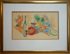 Still life with food Original Pastel by listed artist William Larkins circa 1930