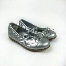 Koala Kids Size 7 Silver Quilted Girls Christmas Holiday Dress Flats