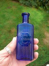 More details for lovely cobalt blue glass poison bottle riker hegeman drug stores
