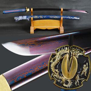 Red & Blue Blade Japanese Sword Samurai Katana Folded Steel Battle Ready SHARP