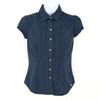 Tommy Hilfiger Short Sleeve Button Up Shirt Womens Sz XS Blue White Dots Stretch
