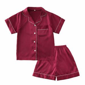 Kids Silk Satin Pajamas Set Girls Pyjamas Suit Short Sleeve Sleepwear Nightwear