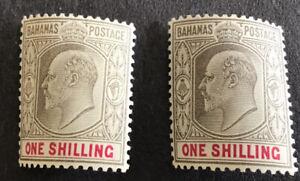 Bahamas Edward VII 1/- Black & Carmine SG67/8 Mounted Mint C/V £44.00 In 2016