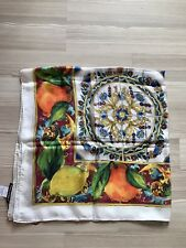DOLCE & GABBANA WHITE SICILY MAIOLICA PRINT 100% SILK  SCARF WRAP GIFT FOR HER