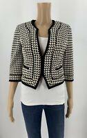 White House Black Market Womens Blazer Jacket Size 2 Black White Cropped A5
